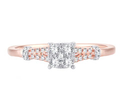 EternalDia 0.21 Cttw Diamond Cluster Promise Ring In 10k Rose Gold With Split Shank - EternalDia