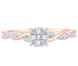 EternalDia 0.20 Cttw Diamond Braided Promise Twisted Swirl Cluster Engagement Ring In 10k Rose Gold - EternalDia