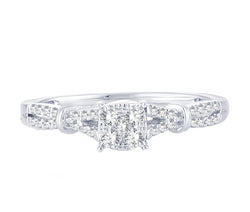EternalDia 0.2 Cttw Diamond Twisted Engagement Wedding Promise Ring In 10k White Gold - EternalDia