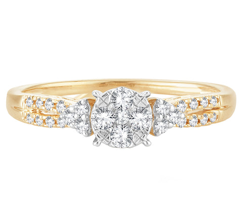 EternalDia 0.25 Cttw Round Diamond Cluster Split Shank Promise Ring In 10k Yellow Gold - EternalDia