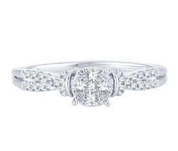 EternalDia 0.25 Cttw Engagement Split Shank Style Cluster Promise Ring In White Gold - EternalDia
