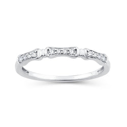 EternalDia 0.10 Cttw Diamond Wedding Stackable Band in 10k White Gold - EternalDia