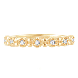 EternalDia 0.10 Cttw White Natural Diamond Wedding Stackable Vintage Style Band in 10k Yellow Gold - EternalDia