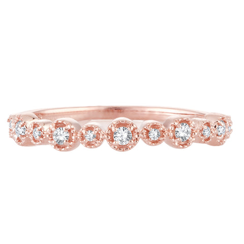 EternalDia 0.11 Cttw Diamond Alternating Band Stackable Vintage Expression Ring In 10k Rose Gold - EternalDia