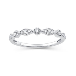 EternalDia 0.15 Cttw Diamond Alternating Vintage-Style Stackable Band in 10K White Gold - EternalDia