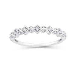 EternalDia 0.15 Cttw Diamond Wedding Stackable Band in 10k White Gold - EternalDia
