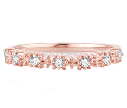 EternalDia 0.15 Cttw White Natural Diamond Wedding Stackable Vintage Style Band in 10k Rose Gold - EternalDia