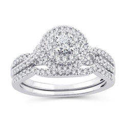 EternalDia 1/2 Cttw Diamond Double Halo Twisted-Style Bridal Set In 10kt White Gold (IJ/I2I3) - EternalDia
