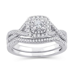 EternalDia 0.50 Ct.Wt. Round Diamond Halo Cushion Twisted Split Shank Bridal Set 10K White Gold (IJ/I2-I3) - EternalDia