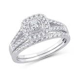 EternalDia 10K White Gold Diamond Split Shank Halo Bridal Set Ring (0.50cttw,I2-I3/IJ) - EternalDia