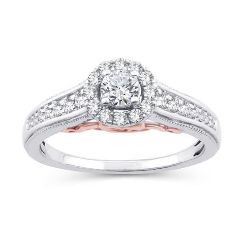 EternalDia 0.50 Ct.Wt. Two-Tone Round Diamond Halo Cathedral Engagement Ring in 10K White Gold (IJ/I2-I3) - EternalDia