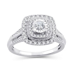 EternalDia 1/2 Cttw Diamond Cushion Frame Dual Halo Vintage-Style Engagement Ring In 10kt White Gold (IJ/I2I3) - EternalDia