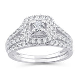 EternalDia 10K White Gold Diamond Split Shank Halo Bridal Set Ring (1 cttw,I2-I3/IJ) - EternalDia