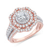 EternalDia 2.00 CT WT Diamond Floral Halo Engagement Rings In 10kt Two-Tone Gold (IJ/I2I3) - EternalDia