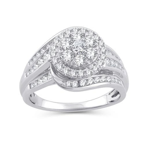 EternalDia 1.00 Ct. Wt. Round Diamond Halo Swirl Wrap-Style Bridal Set in 10K White Gold - EternalDia