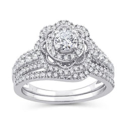 EternalDia 1 Cttw Diamond Floral  Halo Bridal Set In 10kt White Gold (IJ/I2I3) - EternalDia