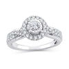 EternalDia 3/4 Ct.Wt. Round Diamond Halo Criss-Cross Engagement Ring - EternalDia
