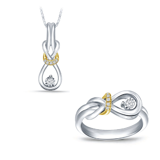 EternalDia Real Diamond Love Knot Pendant and Ring Ensemble Set in 925 Silver & 10Kt Yellow Gold Two Toned. - EternalDia