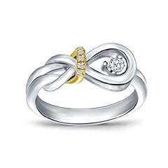 EternalDia 1/16 Ct Sterling Silver and 10kt Yellow Gold Diamond Accent Two-Tone Love Knot Promise Ring (IJ/I2-I3) - EternalDia