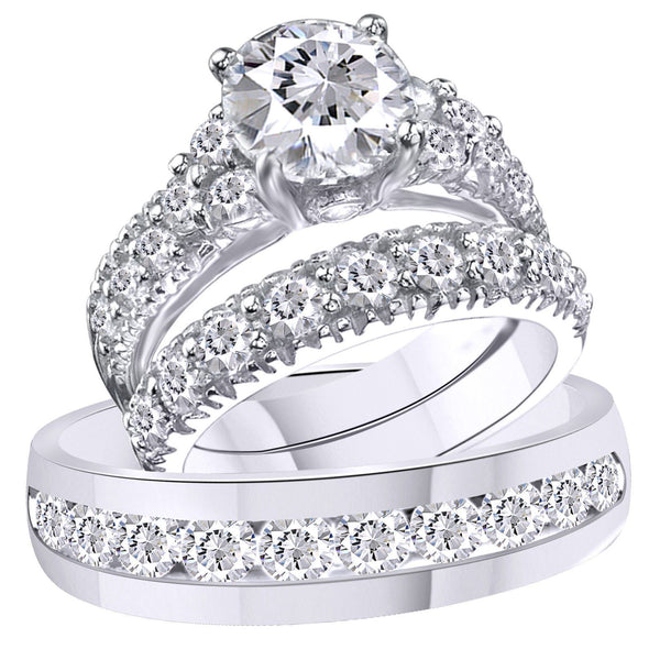 EternalDia 3.75 Ct Simulated Diamond 14k White Gold Over Sterling Silver Trio Engagement Wedding Ring Set For His & Her - EternalDia