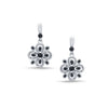 EternalDia Enhanced Black Diamond Accent Clover Shaped Flower Dangle Earrings in Sterling Silver - EternalDia