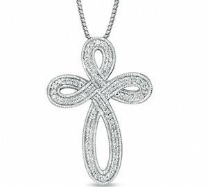 "EternalDia 1/4 Ct Diamond Milgrain Infinity Looped Cross Pendant Necklace in 925 Silver 18"" - EternalDia"