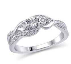 EternalDia 1/8 cttw Diamond Three Stone Promise Ring in Sterling Silver (IJ/I2-I3) - EternalDia