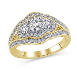 EternalDia 1 CT. T.W.  Three Stone Scalloped Diamond Engagement Ring in 14K Gold (IJ/I2) - EternalDia