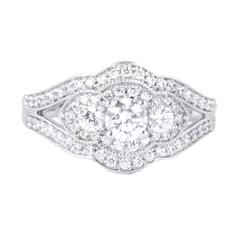 EternalDia 1 Carat T.W. Diamond 14kt White Gold Three Stone Engagement Ring - EternalDia