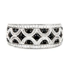 EternalDia 1/3 Carat T.W. Black & white Diamond Sterling Silver Fashion Band Ring - EternalDia
