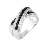 EternalDia 3/8 Carat T.W. Diamond Sterling Silver Crossover Ring - EternalDia