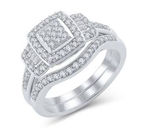 EternalDia 1/2 Ct Diamond Cushion-Shaped Engagement Bridal Ring Set in 925 Sterling Silver - EternalDia