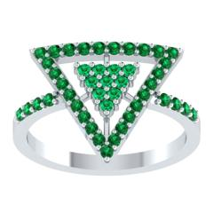 EternalDia Round 0.75Ct Green D/VVS1 Diamond 14k Finish Sterling Silver Triangle Shape Ring - EternalDia