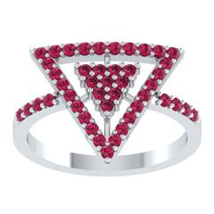 EternalDia Round 0.75 Ct Red D/VVS1 Diamond 14k Finish Sterling Silver Triangle Shape Ring - EternalDia