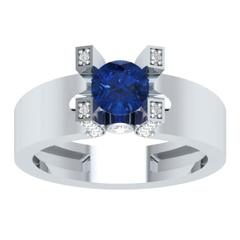 EternalDia Round 1.2 Ct Blue D/VVS1 Diamond 14k Finish Sterling Silver Solitaire Band Ring - EternalDia