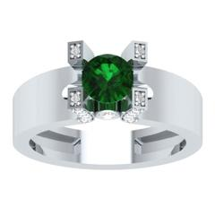 EternalDia Round 1.2 Ct Green D/VVS1 Diamond 14k Finish Sterling Silver Solitaire Band Ring - EternalDia