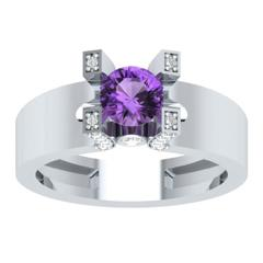 EternalDia Round 1.2ct Purple D/VVS1 Diamond 14k Finish Sterling Silver Solitaire Band Ring - EternalDia