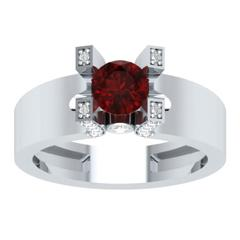 EternalDia Round 1.2 Ct Red D/VVS1 Diamond 14k Finish Sterling Silver Solitaire Band Ring - EternalDia