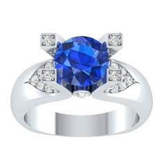 EternalDia 2 Ct Blue D/VVS1 Diamond 14k Sterling Silver Tab-Prong Tension Solitaire Ring - EternalDia