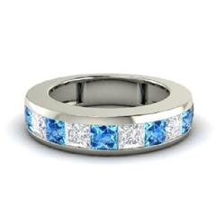 EternalDia 0.3 Ct White & Blue D/VVS1 Diamond 14k Finish Sterling Silver Half Eternity Ring - EternalDia