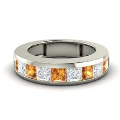 EternalDia 0.3 Ct White & Yellow D/VVS1 Diamond 14k Sterling Silver Half Eternity Ring - EternalDia