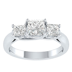 Princess Cut 1.5 Ct Cubic Zirconia Three-stone Engagement Ring In 925 Sterling Silver - EternalDia