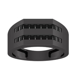 EternalDia Princess Cut 1 Ct D/VVS1 Simulated Diamond Men's Wedding Band Ring In 925 Black Rhodium Sterling Silver - EternalDia