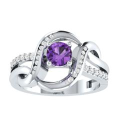 EternalDia D/VVS1 Purple & White Diamond 14k Sterling Silver Crossover Split Shank Ring - EternalDia
