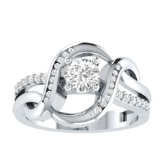EternalDia Round 1.5Ct D/VVS1 White Diamond 14k Sterling Silver Crossover Split Shank Ring - EternalDia