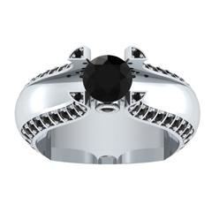 EternalDia 1.5 Ct D/VVS1 Black Diamond 14k Sterling Silver Tab-Prong Tension Solitaire Ring - EternalDia
