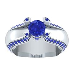 EternalDia 1.5 Ct D/VVS1 Blue Diamond 14k Sterling Silver Tab-Prong Tension Solitaire Ring - EternalDia