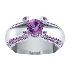 EternalDia 1.5Ct D/VVS1 Purple Diamond 14k Sterling Silver Tab-Prong Tension Solitaire Ring - EternalDia
