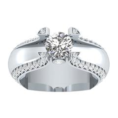 EternalDia 1.5 Ct D/VVS1 White Diamond 14k Sterling Silver Tab-Prong Tension Solitaire Ring - EternalDia