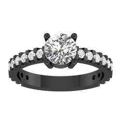 EternalDia Round 4.2 Ct D/VVS1 White Diamond 14k Finish Sterling Silver Solitaire Band Ring - EternalDia